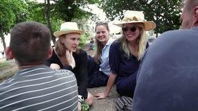 有一个小组年轻行家的人民坐在公园和交谈 影视素材