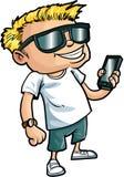 有一个巧妙的电话的动画片书呆子 库存图片