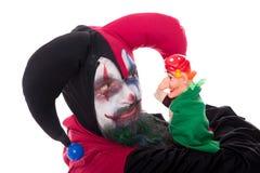 有一个布袋木偶的供人潮笑者,在白色 免版税库存照片