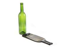 有一个平的瓶的绿色玻璃瓶 库存照片