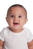 有一个惊奇的表示的男婴 免版税图库摄影