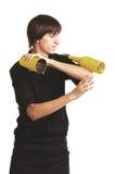 有振动器和瓶的年轻侍酒者 库存图片