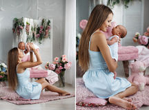 有一个新出生的儿子的,拼贴画一个愉快的妈妈 图库摄影