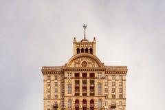 有一个星的议院在Khreschatyk宽阔1954年在苏联时间在Kyiv,乌克兰 免版税库存图片