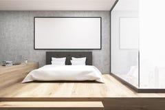 有一个木地板的家庭办公室在卧室 免版税图库摄影