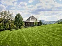 有一个木房子的绿色草甸在背景中 库存照片