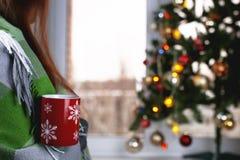 有一个杯子的女孩热的饮料在窗口前面站立 库存图片