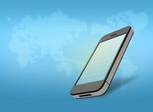 有一个栅格的手机在屏幕和地图上在 库存图片