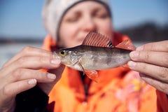 有一个栖息处的一个女孩在渔 免版税库存图片