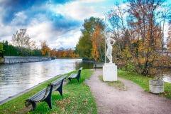 有一个桨雕象的女孩在圣彼德堡 俄国 免版税库存图片