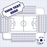 有一个橄榄球场的体育场在笼子的板料 免版税库存图片