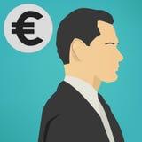 有一个欧洲标志传染媒介象的年轻成功的商人 免版税库存照片