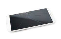 有一个残破的屏幕的巧妙的电话 免版税库存图片