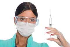 有一个注射器的护士射入的 免版税库存图片