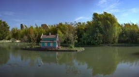 有一个海岛在中部和一个房子的一个大池塘鸟的 图库摄影