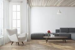 有一个灰色沙发的白色客厅 皇族释放例证