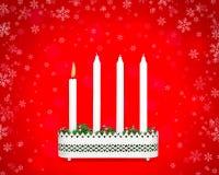 有一个灼烧的蜡烛的出现烛台 免版税库存图片
