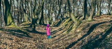 有一个玩具的女婴在森林 库存照片