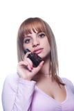 有一个瓶的白肤金发的女孩香水 免版税库存照片