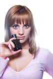 有一个瓶的白肤金发的女孩香水 免版税图库摄影