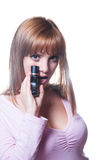 有一个瓶的白肤金发的女孩香水 库存照片