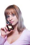 有一个瓶的白肤金发的女孩香水 免版税库存图片