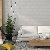 有一个白色沙发和螺纹一把黑扶手椅子的客厅  库存图片