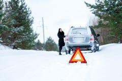 有一个的少妇的图片一辆汽车的一个问题在wint 免版税库存照片