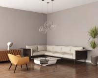 有一个皮革沙发的灰色客厅 免版税库存照片