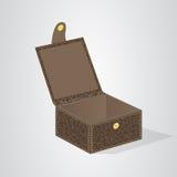 有一个盒盖的皮革棕色礼物盒在按钮 免版税库存图片