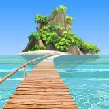 有一个码头的动画片热带海岛在绿松石海 库存图片