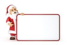 有一个空白广告牌的圣诞老人 免版税库存照片
