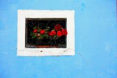 有一个窗口的开花的阳台在房子和许多花盆里 免版税库存图片