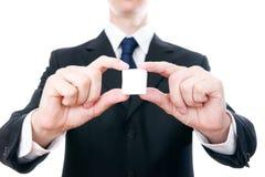 有一个立方体的商人在手上 免版税库存图片