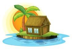 有一个竹房子的一个海岛 皇族释放例证