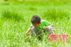 有一个篮子的一个小男孩在草 免版税库存照片