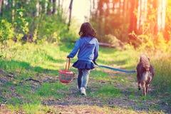 有一个篮子的小女孩在她的手上走与一条狗的在森林里 免版税图库摄影