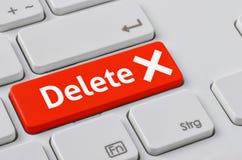 有一个红色按钮的键盘-删除 免版税库存照片