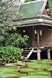 有一个绿色屋顶的一个木棕色泰国房子在荷花池附近 库存照片