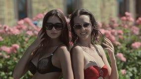 有一个美好的图的惊人的女孩在比基尼泳装 股票视频