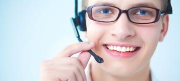 有一个耳机的用户支持操作员在白色背景 免版税图库摄影