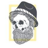 有一个胡子的时髦的头骨在夏天帽子 库存图片