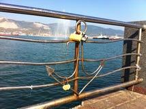 有一个船锚的篱芭在江边 库存照片