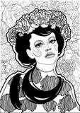 有一个花卉花圈的美丽的黑白女孩在她的头 向量例证