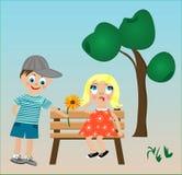 有一个花和女孩的男孩长凳的 库存照片