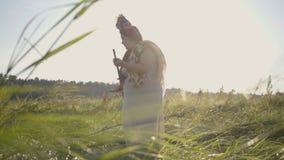 有一个花圈的逗人喜爱的肥满妇女在她的割与大镰刀的头草在绿色夏天领域 在领域的工作 股票视频