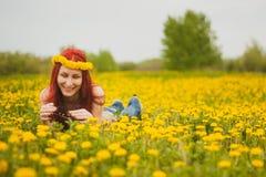 有一个花圈的年轻时兴的可爱的性感的女孩在她的说谎在延命菊草甸和微笑在的头和玻璃 库存图片