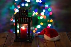 有一个蜡烛的灯笼圣诞节 图库摄影