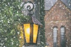 有一个蜡烛的灯笼在老镇里加 库存图片