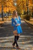 有一个袋子的走沿道路的美丽的女孩在一件短的礼服和绑腿在秋天停放 库存图片